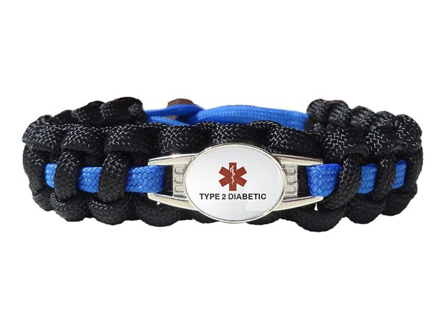 Medical Id Type 2 Diabetic Paracord Bracelet Made By Us