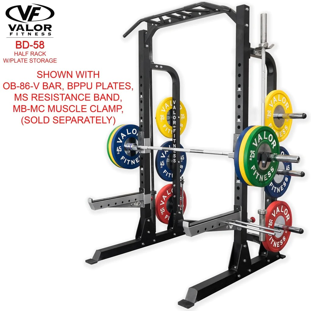Garage Gym Half Rack Half Rack With Plate Storage Valor Fitness