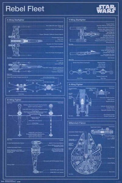 Broadway Quotes Wallpaper Star Wars Rebel Fleet Blueprint Poster 22x34 Bananaroad