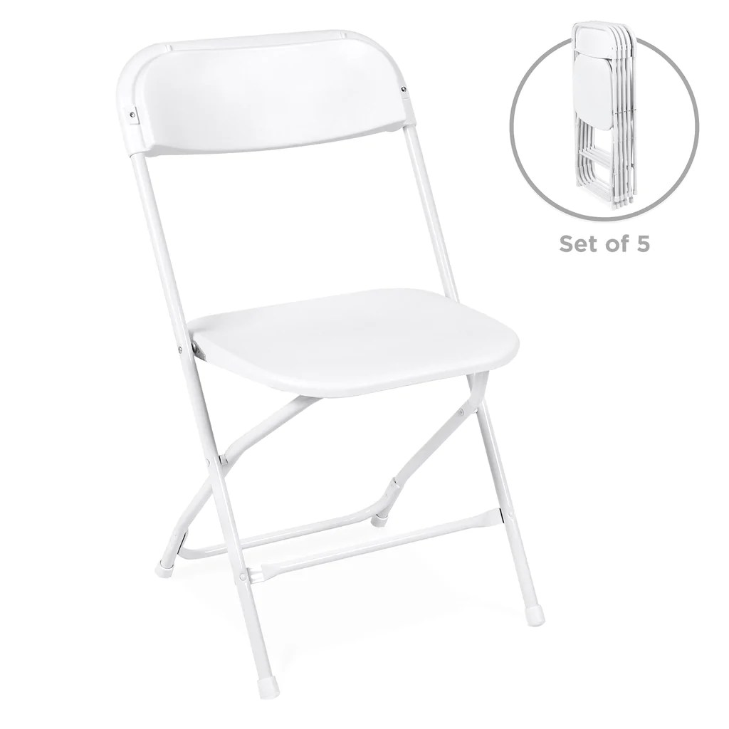 Chairs Folding Set Of 5 Folding Stacking Plastic Chairs White