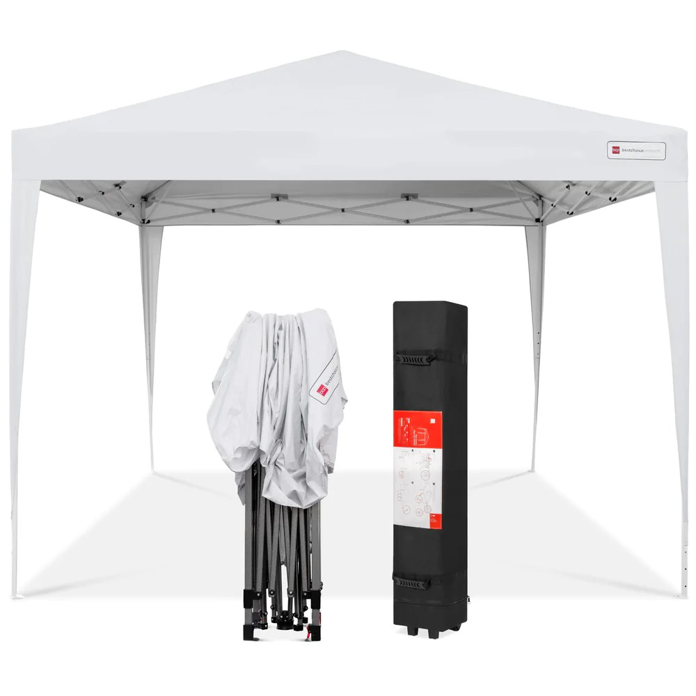 Pop Up Canopy 10x10ft Outdoor Portable Pop Up Canopy Tent W Carrying Case White
