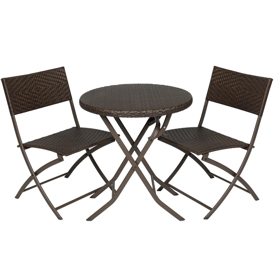 Round Table Patio Furniture Sets 3 Piece Folding Rattan Bistro Furniture Set W Round Table Brown