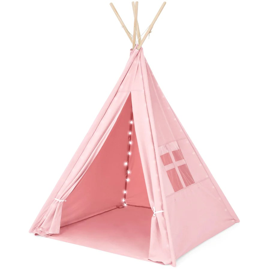 Kids Play Tent 6ft Kids Cotton Pretend Teepee Play Tent W Led Lights Carrying Bag