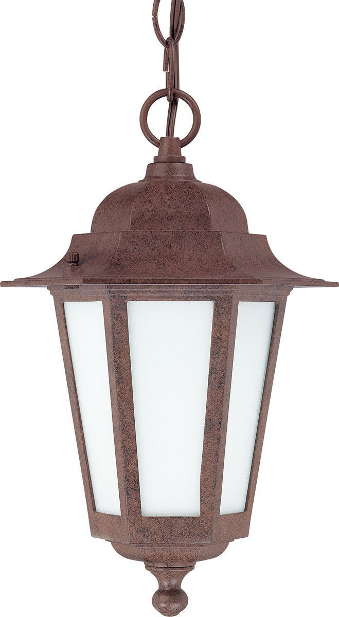 Outdoor Hanging Lamps Nuvo Lighting 60 2208 Cornerstone Collection One Light Exterior Outdoor Hanging Pendant Lantern In Old Bronze Finish