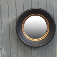 Deep Black & Gold Round Crew Convex Mirror | The Farthing