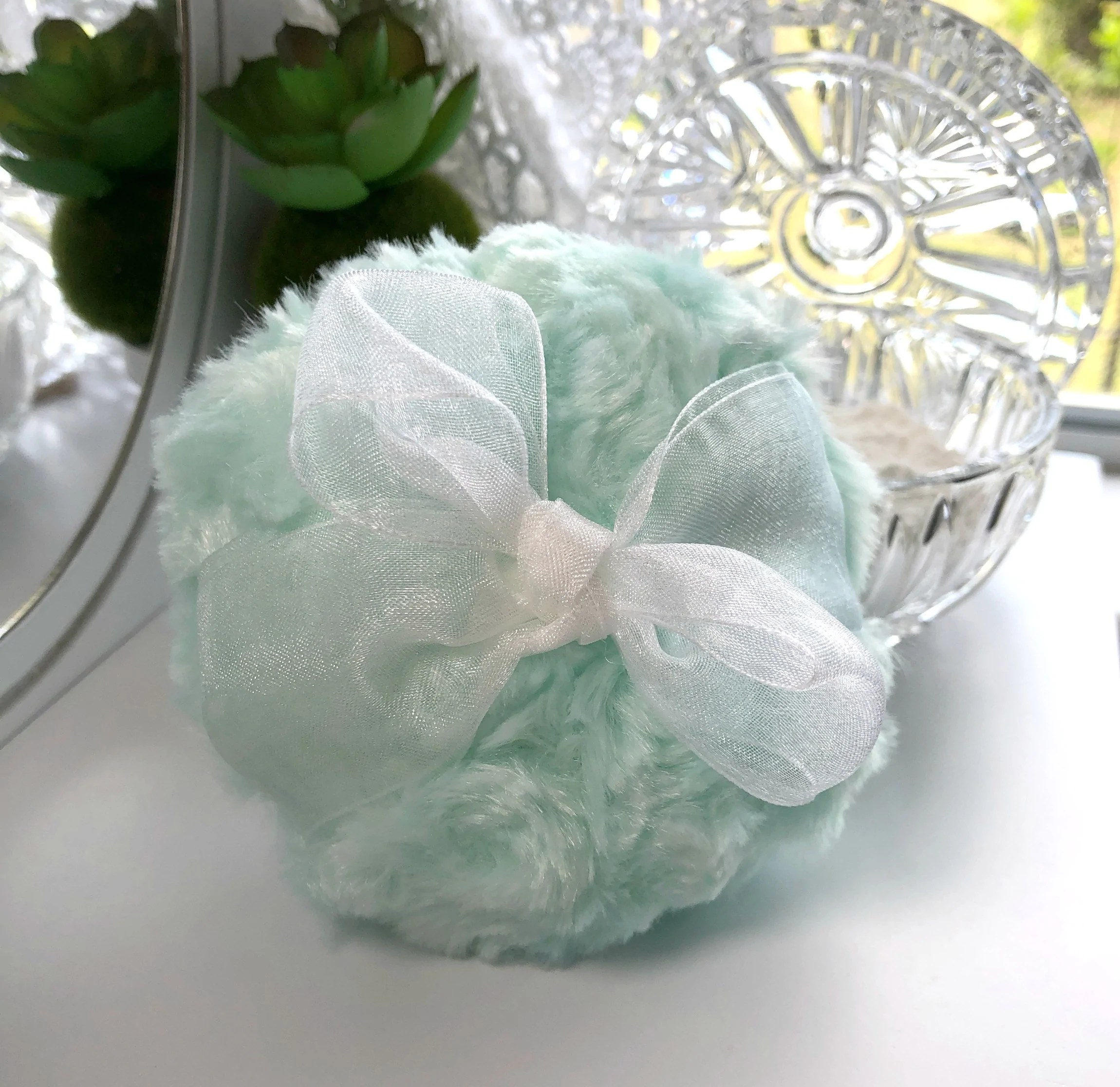 Pouf Mint Powder Puff 4 Inch Mint Green Plush And White Organza Pouf To Apply Body Powder