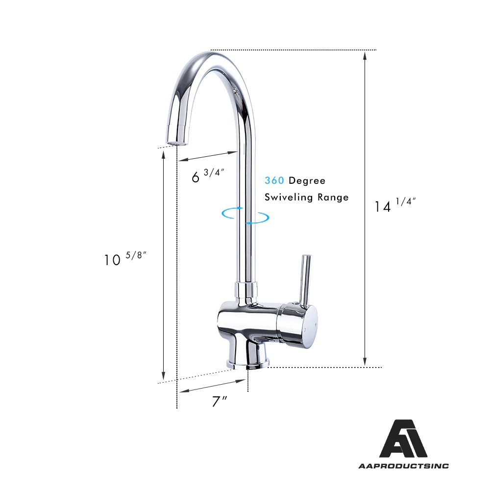 Kitchen Mixer Tap Aa Products High Arch Solid Brass Kitchen Sink Faucet 360 Degree Swivel Spout Mixer Tap Chrome Finish