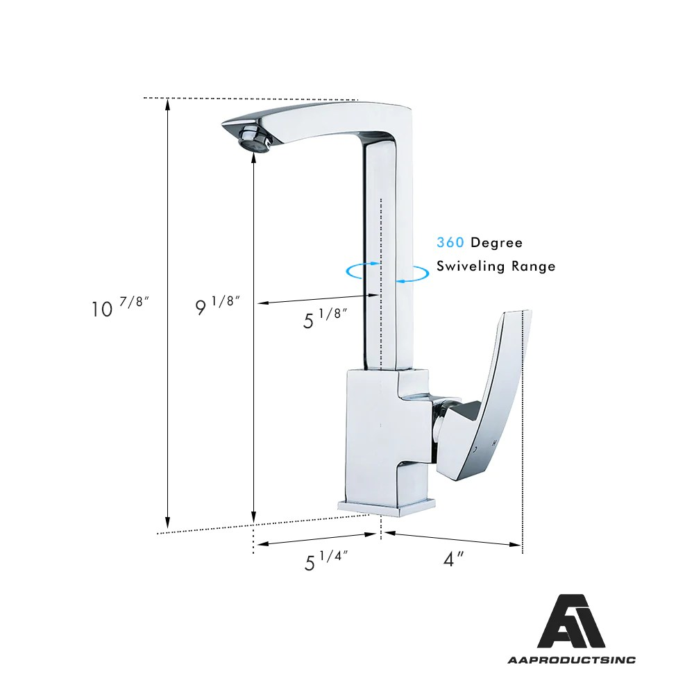 Kitchen Mixer Tap Aa Products 90 Degree Single Handle 1 Hole Kitchen Sink Faucets Spout Mixer Tap Water Kitchen Faucet Brass Chrome Finish Km