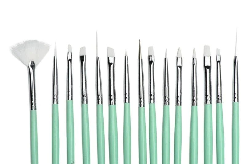 Twinkled T Mint Coco Nail Art 15 Pc Brush Set Twinkled T