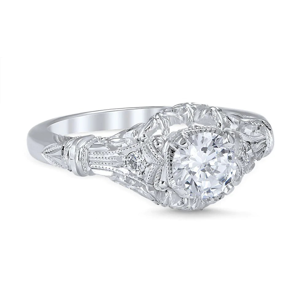 engagement rings vintage style wedding rings Vintage inspired engagement ring intricately detailed with a gorgeous design resembling that of an open flower