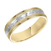 18k yellow gold and platinum 6mm wide mens 3-band style ...