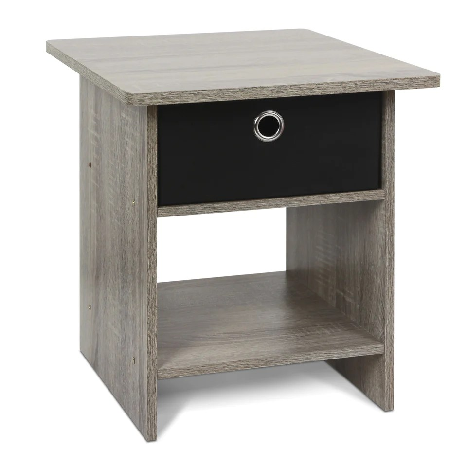 Black End Tables With Drawer Furinno 10004gyw Bk End Table Night Stand With Bin Drawer French Oak Grey Black 10004gyw Bk
