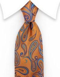 Orange and Blue Paisley Silk Tie  GentlemanJoe