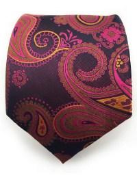 Purple, Pink and Orange Paisley Necktie  GentlemanJoe