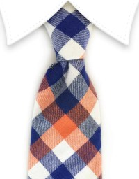 Orange, Blue & White Cotton Tie  GentlemanJoe
