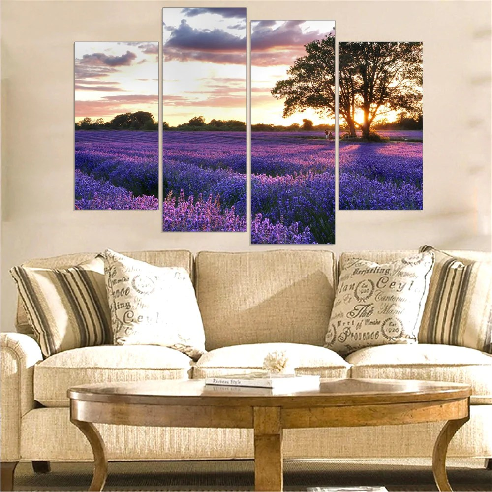 Provence Decoration Lavender Flower Canvas Picture Art Print Provence Home Decoration Oil Painting For Living Room Frameless 5 Color Availble 4pcs