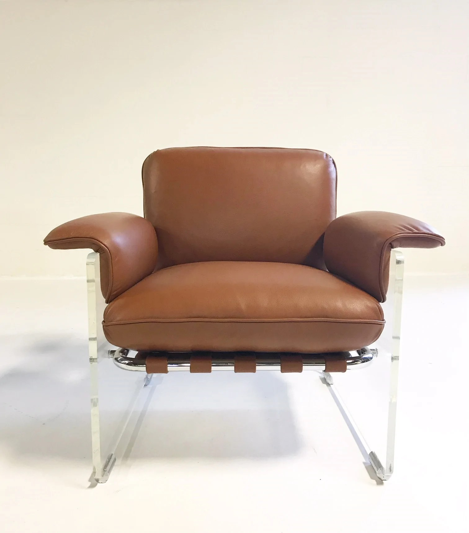 Argenta Lucite Chairs In Loro Piana Italian Buffalo Leather Pair Forsyth