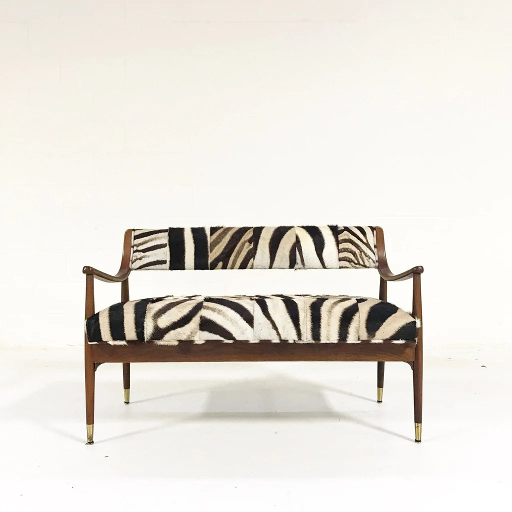 Settee Loveseat Danish Style Settee Loveseat In Zebra Hide