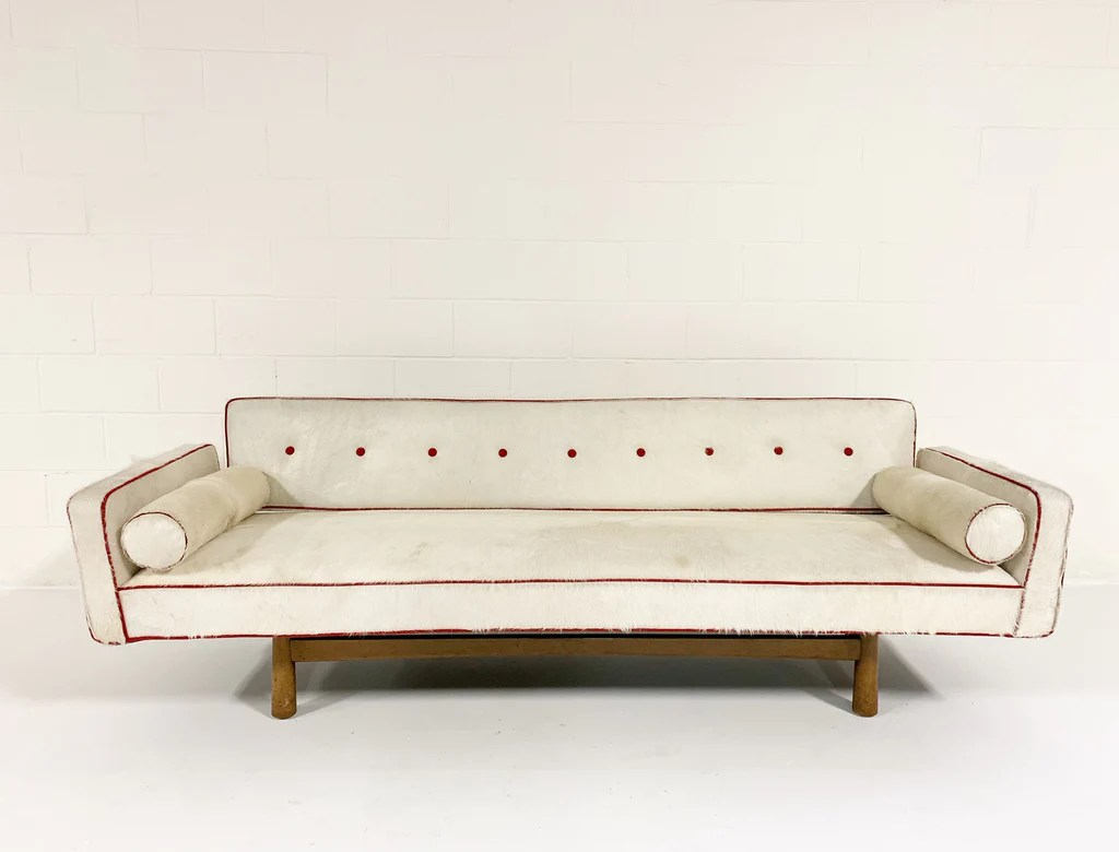 Vintage Couch Vintage Edward Wormley For Dunbar Model 5316 Sofa Restored In Brazilian Cowhide With Loro Piana Red Cashmere Welting