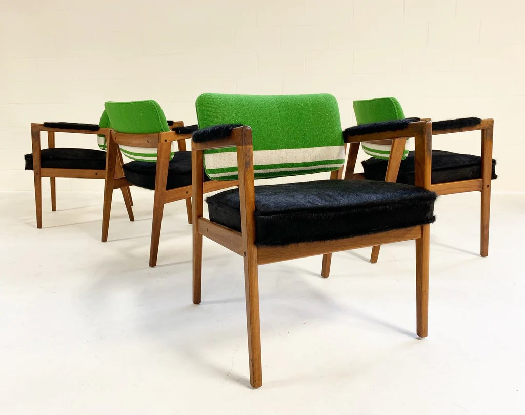 Swedish Mid Century Furniture Set Of 4 Midcentury Swedish Chairs Restored In Brazilian Cowhide And Isabel Marant Silk Wool