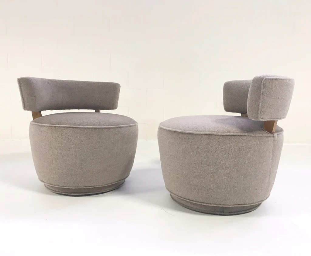 Tub Chairs Vintage Milo Baughman Style Tub Chairs Restored In Loro Piana Alpaca Wool Pair