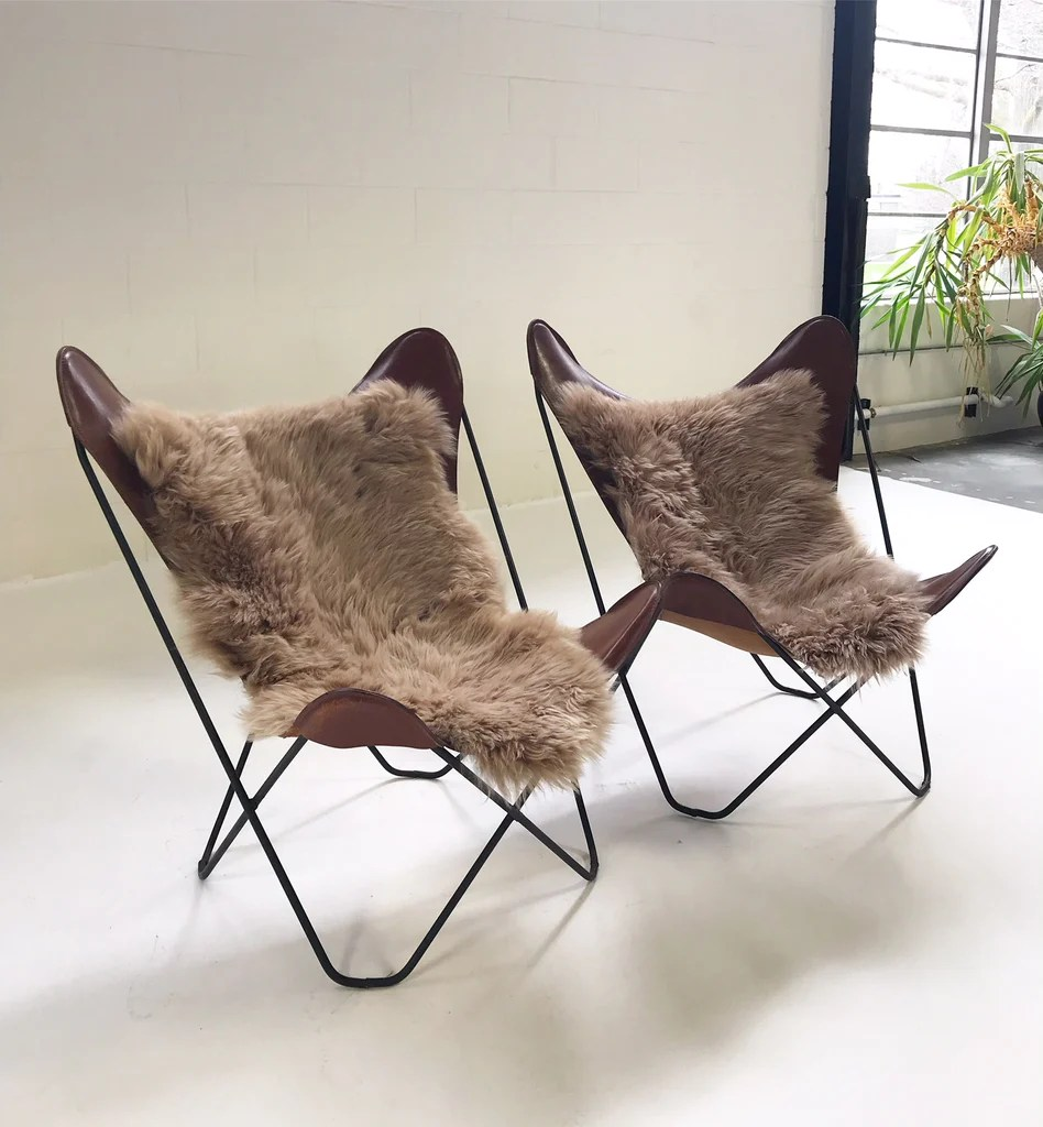 Butterfly Chair Knoll Vintage Antonio Bonet Juan Kurchan And Jorge Ferrari Hardoy For Knoll Butterfly Chairs With Sheepskins Pair