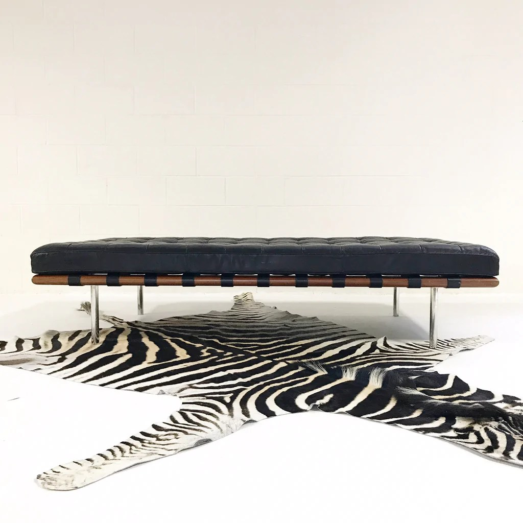 Barcelona Daybed Vintage Mies Van Der Rohe Barcelona Daybed Sofa With Zebra Hide Rug