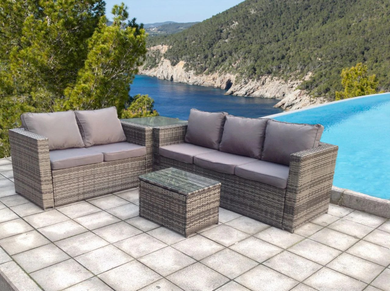 Rattan Sofa Corner Set Rattan Wicker Conservatory Outdoor Garden Furniture Set Corner Set