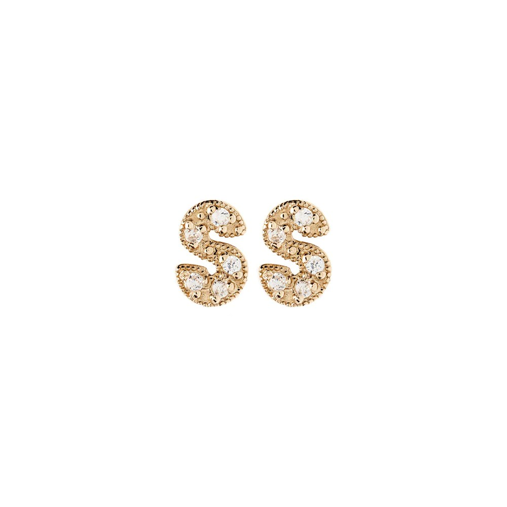Gold S 14k Diamond Letter Earrings