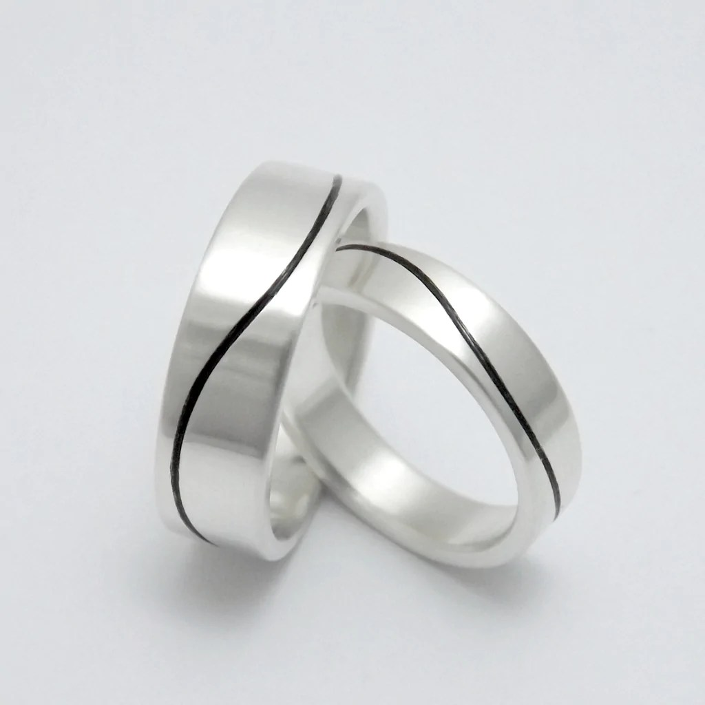 matching wedding bands with black wave matching black wedding bands Matching Wedding Bands with Black Wave