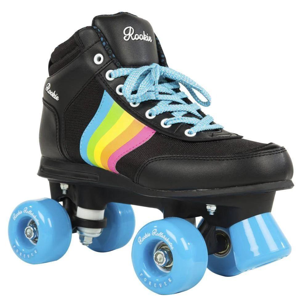 Rookie forever rainbow v2 black multi roller skates main view