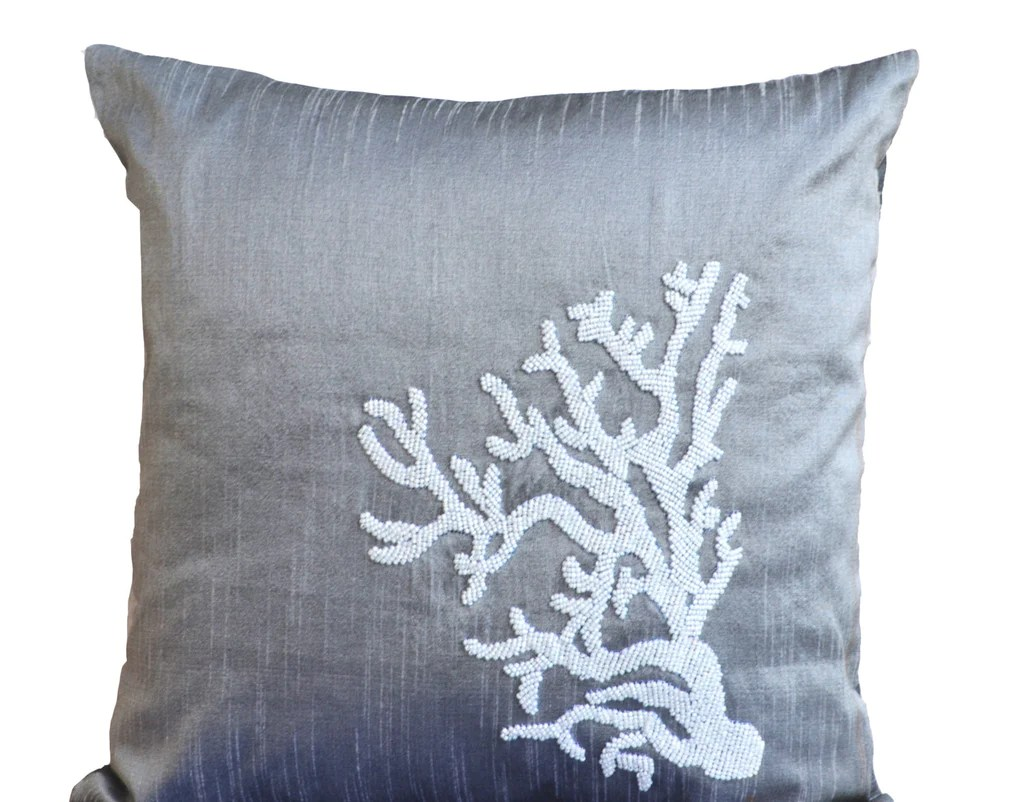 Nautical Sofa Throws Grey Pillow Beaded Coral Pillow Decorative Throw Pillow Nautical Pillow Coral Reef Pillow Silk Pilow Covers 16x16 Gift Oceanic