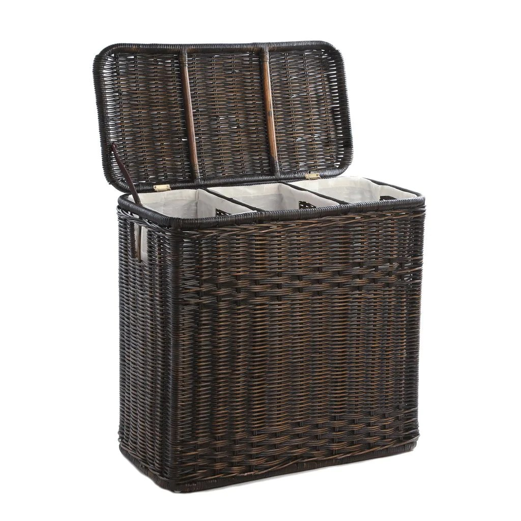 3 Basket Laundry Hamper 3 Compartment Wicker Laundry Hamper The Basket Lady