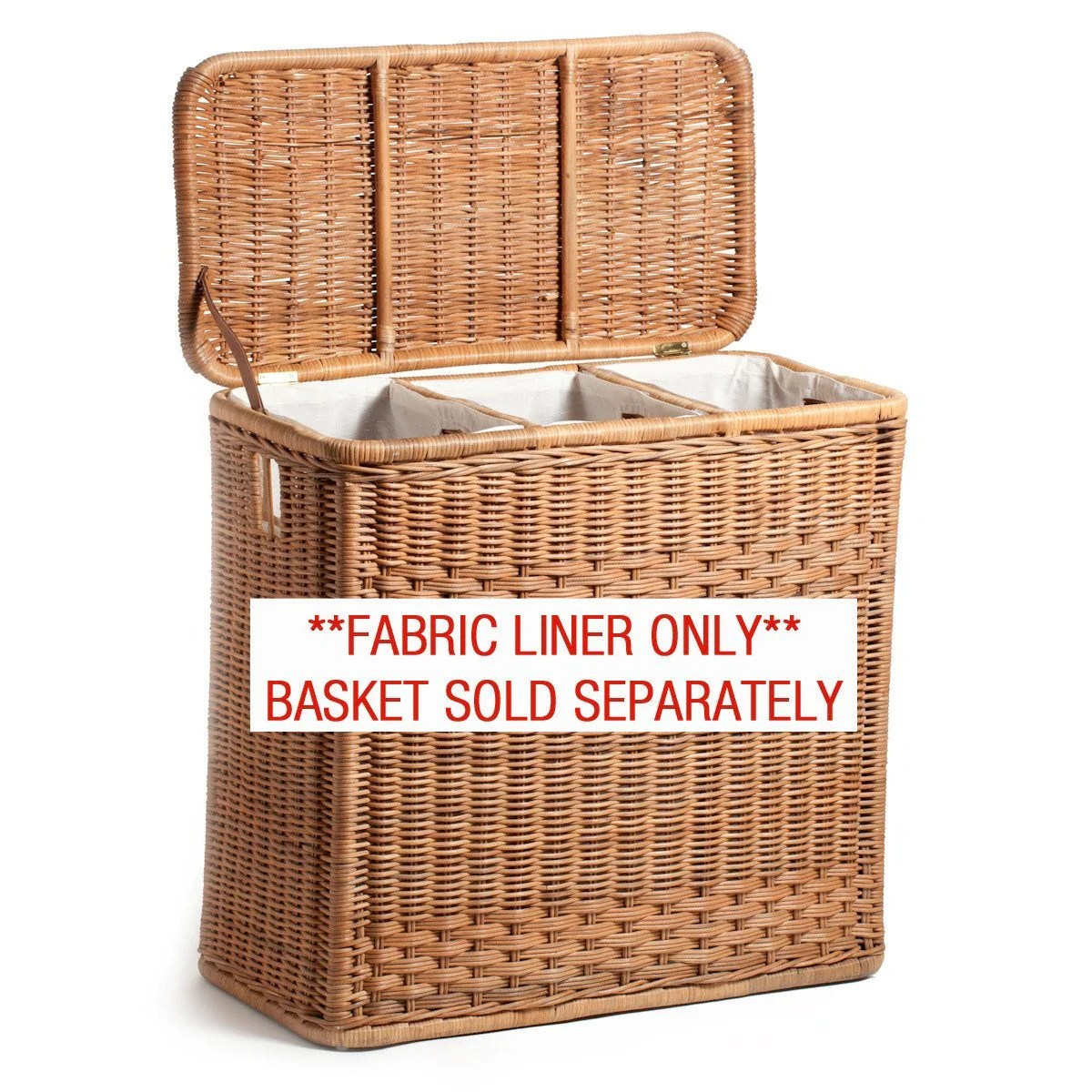 Laundry Basket Three Compartments Fabric Liner For 3 Compartment Wicker Laundry Hamper The