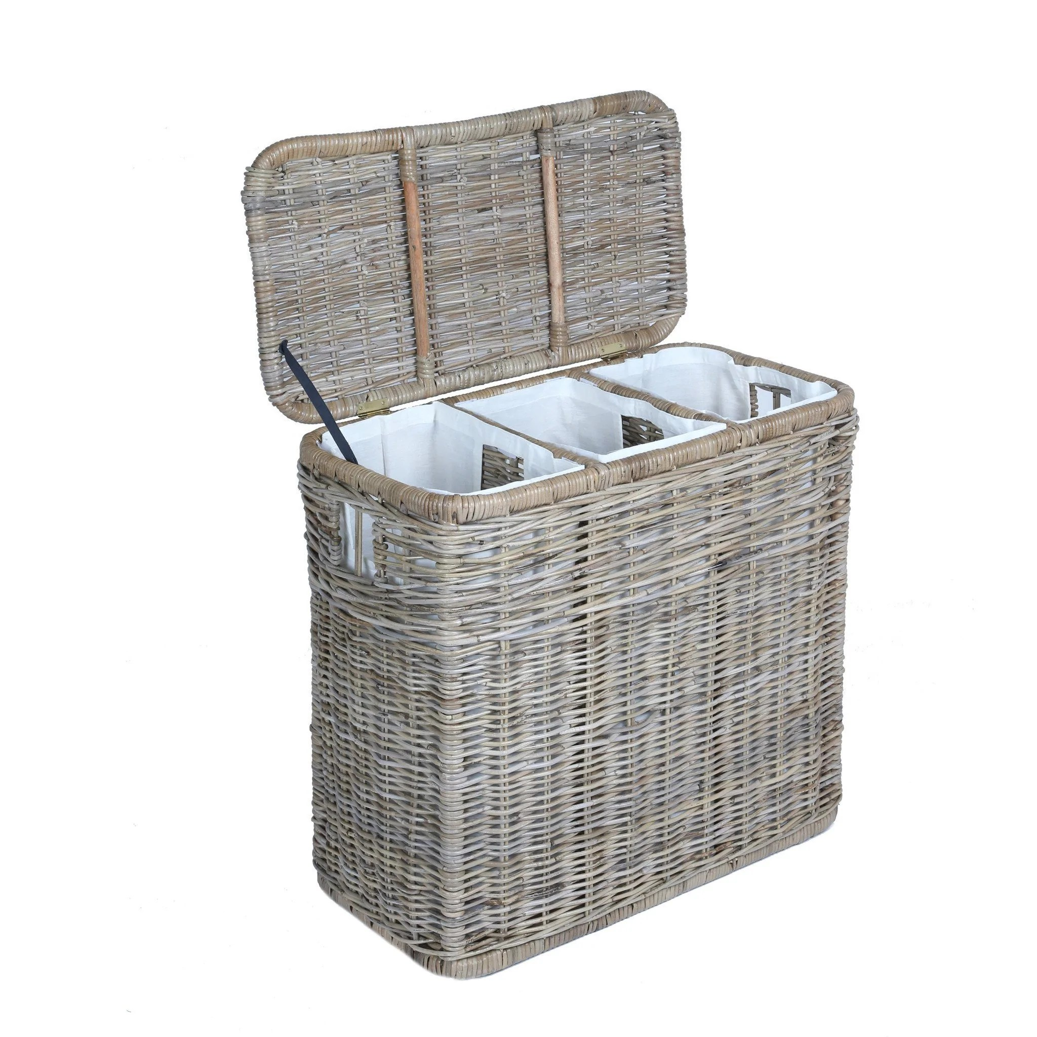 Separate Laundry Basket 3 Compartment Kubu Wicker Laundry Hamper The Basket Lady