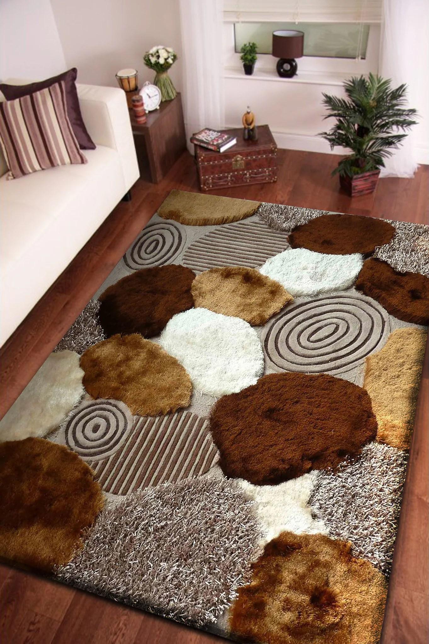 Beige With Brown Pattern Shag Rug Rug Addiction