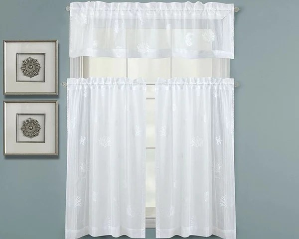Kitchen Cart Or Island Seaside Lace Window Treatments, Valances And Tiers – Beach