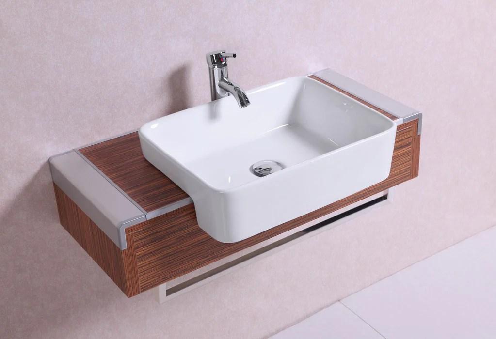 Dakota 32 Inch Modern Wall Mounted Walnut Bathroom Vanity
