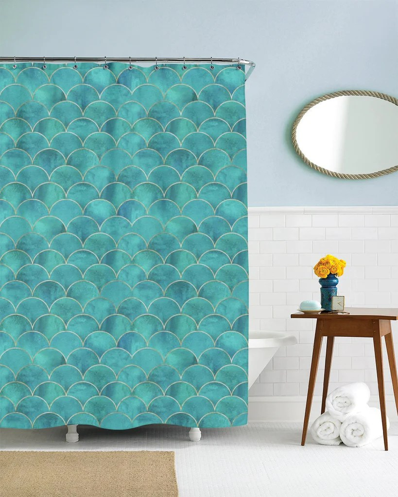 Mermaid Scale Shower Curtain Mermaid Shower Curtain Fish Scales Teal Gold Fabric Mermaid