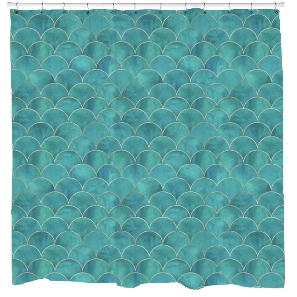 Mermaid Scale Shower Curtain Mermaid Shower Curtain Fish Scales Teal Gold Fabric Mermaid Decor Boho Curtain Nautical Bathroom Decor Beach Art Printed In Usa
