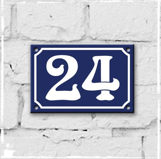 Blue French Enamel House Number 24 Thefrenchnumber