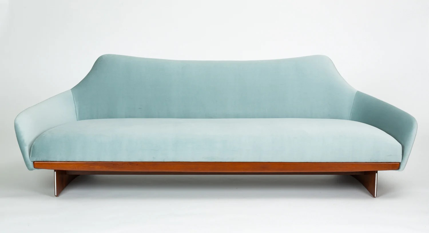Made Sofa Velvet American Made Gondola Sofa In Ice Blue Velvet With Walnut Details