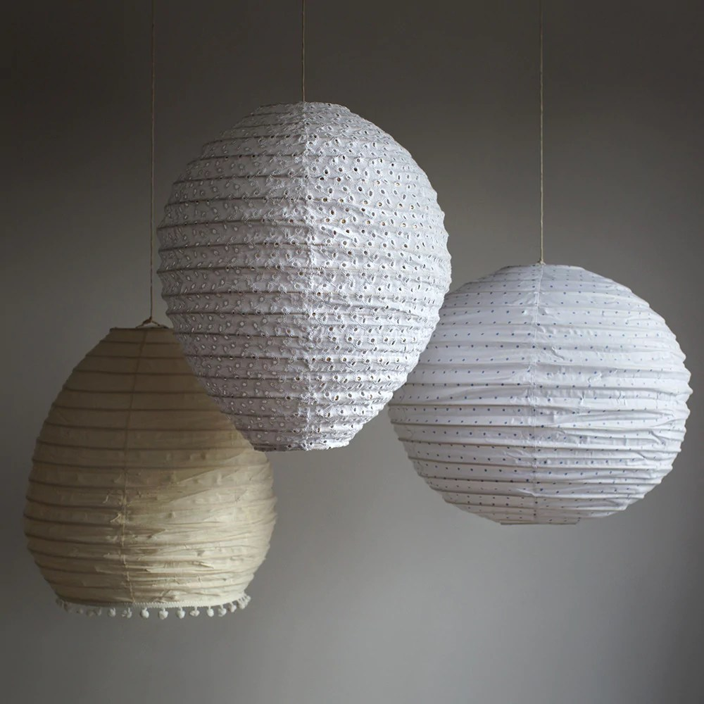 Paper Light Shades White Broderie Anglaise Hanging Lamp Shade