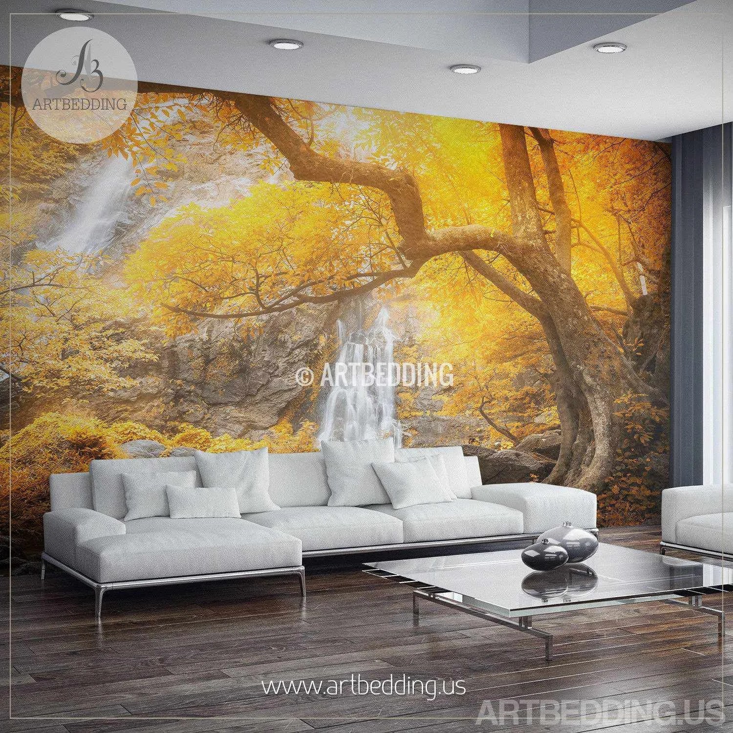 Décoration Murale Adhésive Autumn Waterfall Wall Mural Photo Wall Mural Self Adhesive Peel Stick Nature Wall Mural Decor