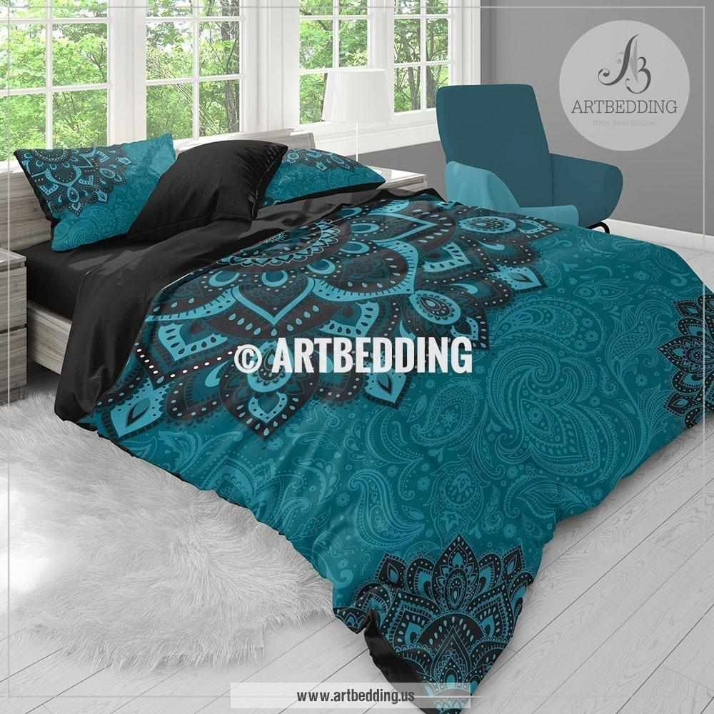 Duvet Covers And Comforters Bohemian Teal Bedding Dark Teal And Turquoise Mandala Duvet Cover Set Teal Boho Comforter Set Boho Bedding Mandala Bedspread