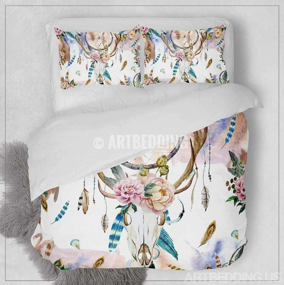 Boho Quilt Covers Australia Boho Bedding Watercolor Deer Skull Wildflowers Duvet Bedding Set Bohemian Feather Totem Bedding Deer Head Dreamcatcher Duvet Cover Set Bohochic