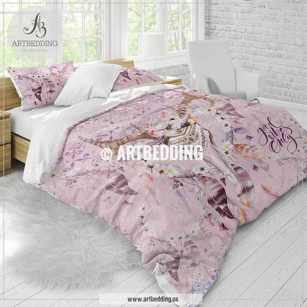 Duvet And Comforter Sets Boho Deer Skull Bedding Watercolor Deer Skull Duvet Bedding Set Deer Skull Comforter Set Feathers Skull Bedroom Decor