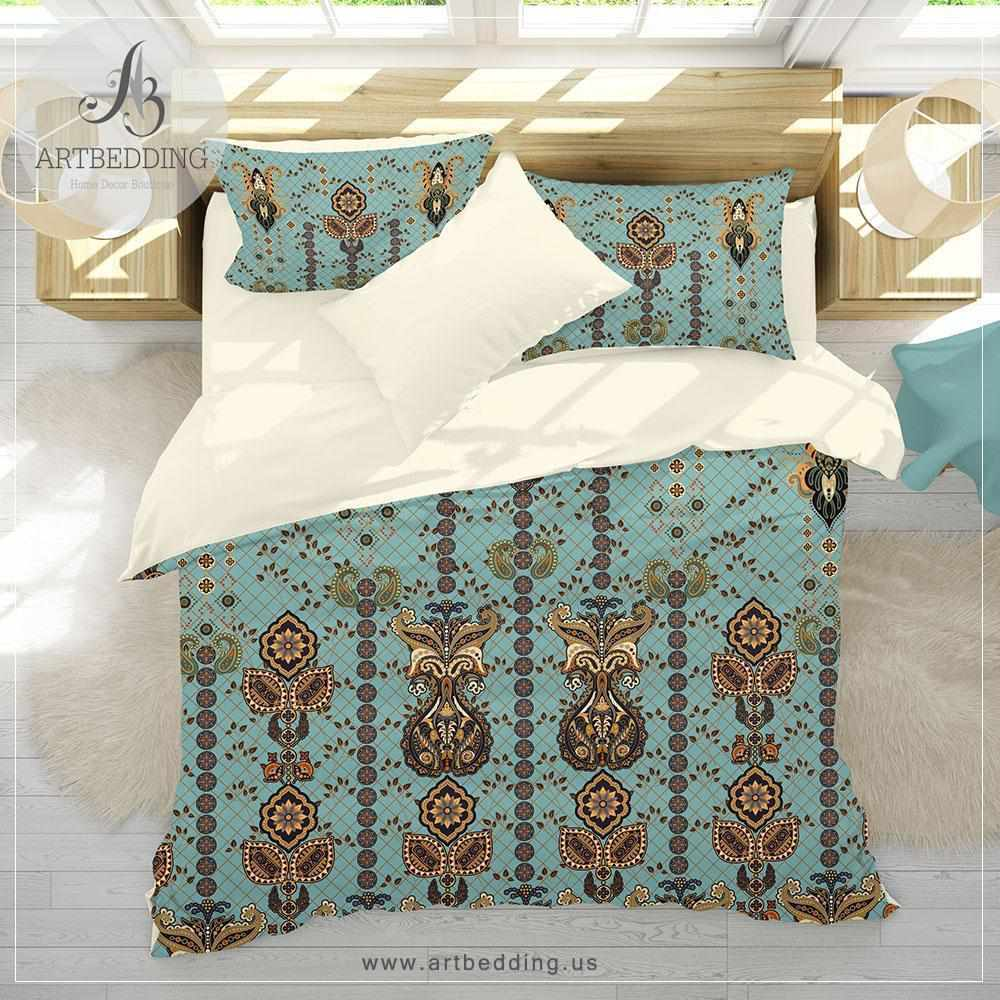 Duvet And Comforter Sets Boho Indian Vintage Bedding Indie Duvet Cover Set Traditional India Boho Comforter Set Boho Bedroom Decor