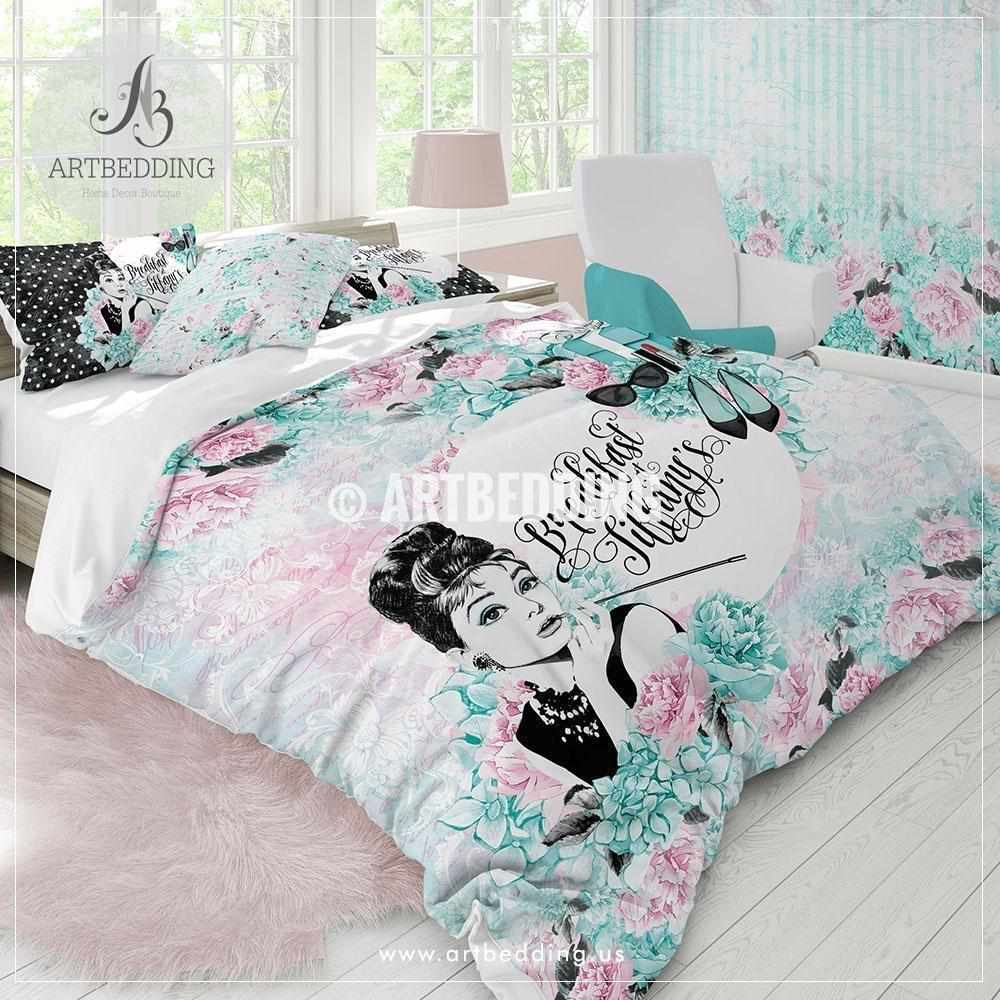 Pink Duvet Cover Breakfast At Tiffany S Audrey Bedding Set Tiffany Blue And Blush Pink Vintage Bedding Tiffany Duvet Cover Set Vintage Bedroom Decor