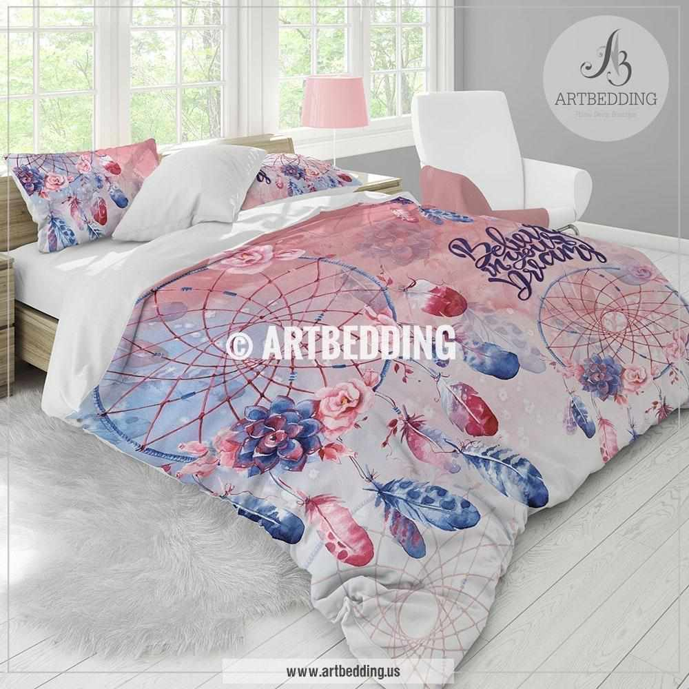Duvet And Comforter Sets Dreamcatcher Bedding Blue And Red Dreamcatcher Feathers Duvet Bedding Set Bohemian Feathers Bedding Dreamcatcher Comforter Set